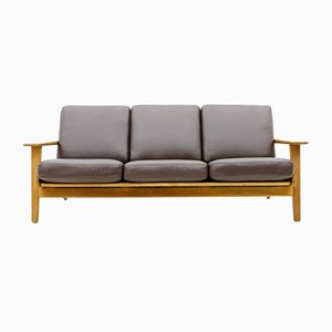 Danish Oak and Leather Sofa by Hans J. Wegner for Getama, 1960s