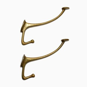 Brass Wall Mounted Coat Hooks by Adolf Loos, 1916, Set of 2