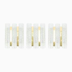 Applique tubolari in ottone e vetro satinato di Doria, anni '60, set di 3