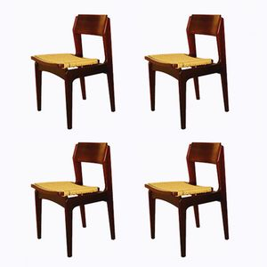 Italian Rosewood and Paper Cord Dining Chairs, 1960s, Set of 4