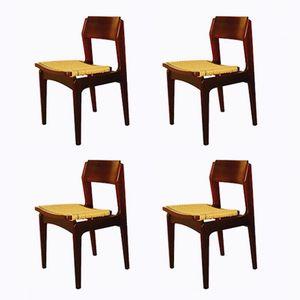Italienische Palisander und Papierkordel Esszimmerstühle, 1960er, 4er Set