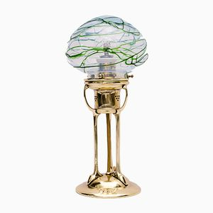 Table Lamp with Pallme König Glass Shade, 1900s