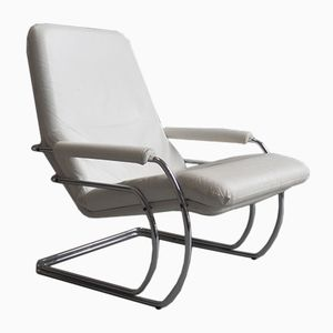 Dutch White Leather Lounge Chair by Jan de Bouvrie for Gelderland, 1970s
