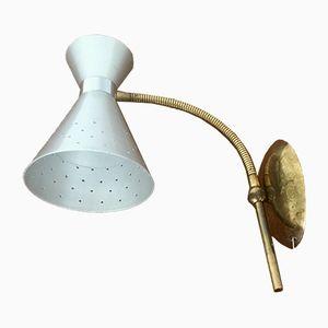 Lampada da parete in ottone ed alluminio, anni '50