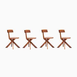 S34 Stühle aus Französischem Ulmenholz von Pierre Chapo für Seltz, 1970er, 4er Set