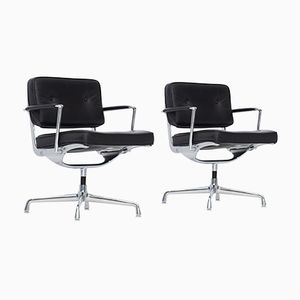 Mid-Century Intermediate Black Leather Desk Chairs by Charles & Ray Eames, Set of 2