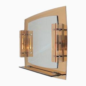 Italienischer Vintage Spiegel mit Lampen von Veca