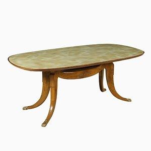 Italienischer Vintage Buchenholz Tisch mit Glasplatte und Marmor Optik