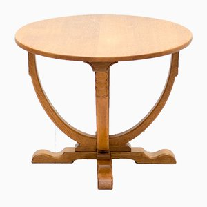 Vintage English Art Deco Oak Side Table