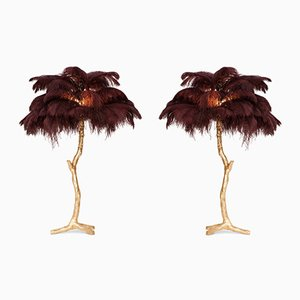 Small Vintage Gilt Palm Tree Lamp with Feathers