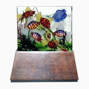Lampada grande Aquarium vintage in vetro di Murano di Gino Cenedese