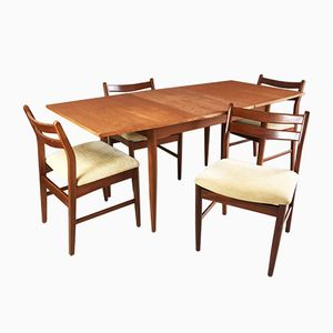 Dining Set with Extendable Table and Oatmeal Fabric Dining Chairs, 1970s