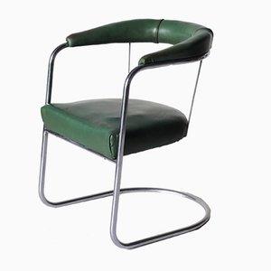 Sedia da scrivania SP4 vintage modernista placcata in cromo di PEL, anni '30