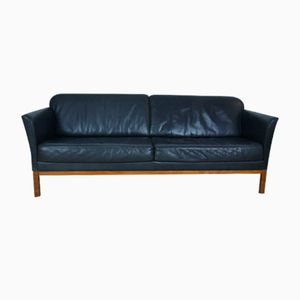 Vintage Danish Leather & Teak Sofa, 1970s