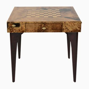 Tavolo da gioco impiallacciato in radica di Aldo Tura, anni '80