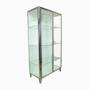 Vintage Polished Steel Medical Cabinet, 1930s