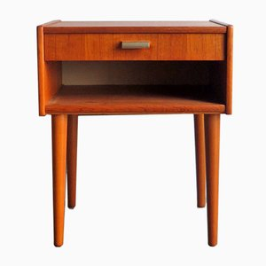 Vintage Danish Teak Bedside Table with Drawer