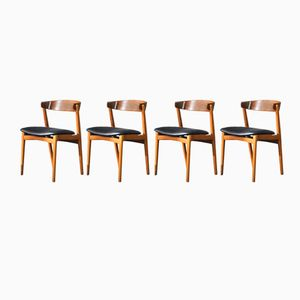 Teak and Beech Dining Chairs, Set of 4