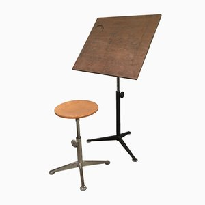 Vintage Drafting Table and Stool by Friso Kramer for Ahrend De Cirkel