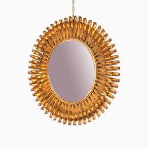 Specchio vintage in ferro dorato