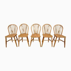 Vintage Windsor Stühle mit Gebogenen Rückenlehnen, 5er Set