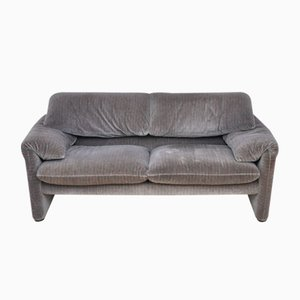 675 Grey Velvet Maralunga Two-Seater Sofa by Vico Magistretti for Cassina, 1970s