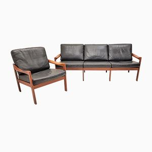 Vintage Teak Sofa & Lounge Chair by Illum Wikkelsø for Eilersen, 1960s, Set of 2