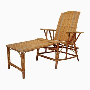 Vintage Rattan Lounge Chair and Footstool