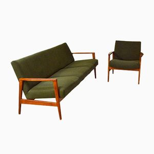 Vintage Teak Scandinavian Living Room Set, Set of 2