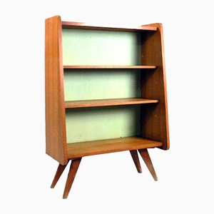 Oak Veneer Shelving Unit with Compass Feet, 1960s