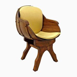 Oak Barrel Armchair, 1970s