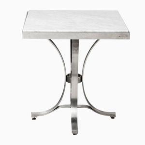Tavolini in acciaio e marmo, anni '40, set di 2