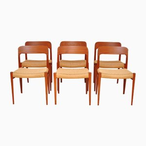 Modell 75 Stühle von Niels Otto Møller für J.L. Møller, 1950er, 6er Set