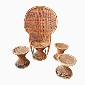 Vintage Large Wicker Peacock Armchair & Stools, 1970s, Set of 4