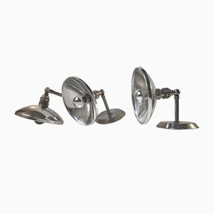 Vintage French Industrial Wall Lamps, 1950s, Set of 3