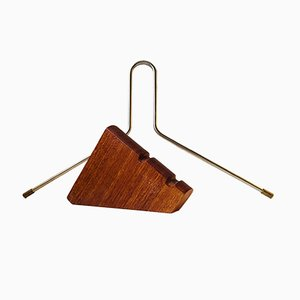 Floating Teak, Brass & Steel Coat Hanger from Torben Ørskov, 1960s