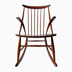 Rocking Chair Gyngestol No. 3 par Illum Wikkelso pour Niels Eilersen, 1950s