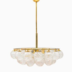 Brass & Crystal Glass Snow Balls Chandelier from Doria, 1970s