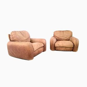 Piumotto Leather Armchairs from Busnelli, 1970s, Set of 2