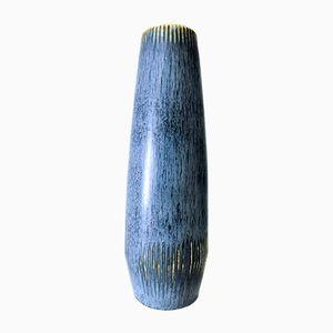 Blaue Steingut Vase von Carl Harry Stålhane für Rörstrand, 1950er