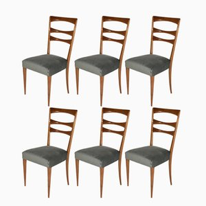 Italian Velvet Dining Chairs, 1950s, Set of 6