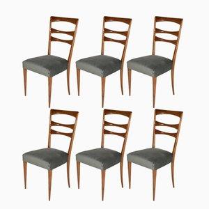 Italienische Esszimmerstühle mit Samtbezug, 1950er, 6er Set