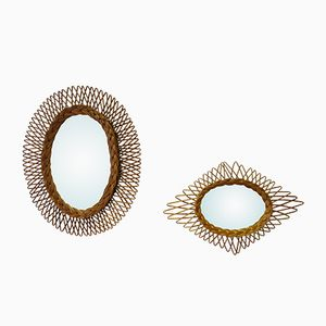 Vintage Rattan Mirrors, Set of 2