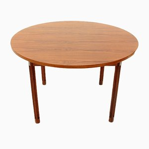 Round Wood & Aluminum Table by Georges Coslin for 3V Arredamenti, 1960s