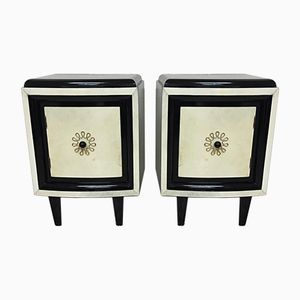 20th Century Art Deco Bedside Tables in Parchment, Set of 2