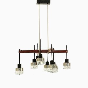 Mid-Century Italian 8 Lights & Wood Chandelier