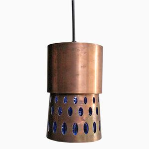 Vintage Copper & Blue Glass Pendant Lamp