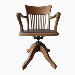 Sedia da ufficio vintage regolabile in quercia