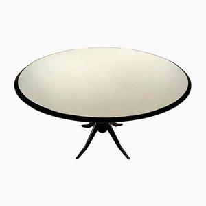 Tavolo da pranzo rotondo vintage con ripiano specchiato