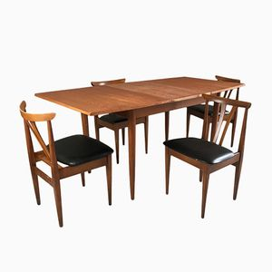 Dining Set with Extendable Teak Table & 4 Vinyl Chairs, 1970s